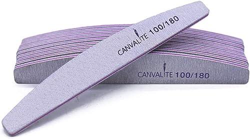Canvalite Lot de 10 limes à ongles professionnelles - Double-face - lime 100 / 180 Grain - Pour la manucure, pour le ...