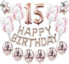Feelairy 15 año Cumpleaños Globos Decoración Kit Oro Rosa, Happy Birthday Banner Globo Carta, Globos de Papel Aluminio Gigante Número 15 y Estrella Globos, Cumpleaños 15 para Adolescentes Niñas