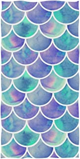 """Naanle Chic Watercolor Rainbow Scales of Mermaid Soft Absorbent Large Hand Towels Multipurpose for Bathroom, Hotel, Gym and Spa (16"""" x 30"""",Multi)"""