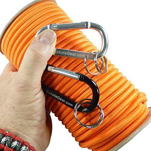 """Dakota Gear (TM) Shock Cord - 80's Neon Orange 1/4"""" x 100 ft. Spool. Marine Grade. Also Called Bungee Cord, Stretch Cord & Elastic Cord. Made in USA. 2 Carabiners and Knot Tying eBook."""