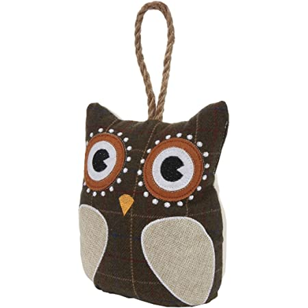 Lily S Home Cute Decorative Owl Weighted Interior Door Stopper Compact With Patchwork Fabric Design And Hanging Loop Attached Brown Office Products