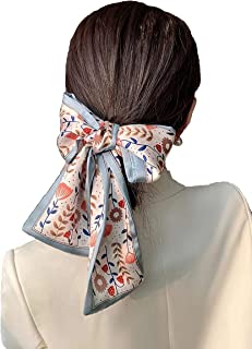 Silk Scarf Hair Tie Floral Print Ponytail Headband Band Handbag Hand Ribbon and Belt Accessories for Women