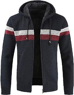 Men's Cardigan Striped Windbreaker Thick Zipper Warm Hoodie Fleece-Lined Outwear Winter Autumn New with Pockets Sweatshirt...