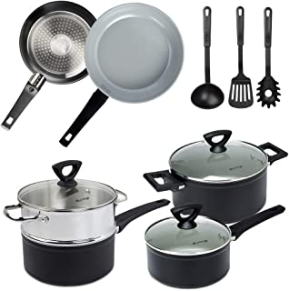 Duxtop 12-Piece Nonstick Cookware Set, Dishwasher Oven Safe Ceramic Pots and Pans Set with Glass Lid, Impact-bonded Technology, Induction Base