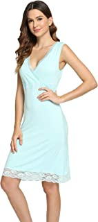 Women's Nightgowns Bamboo V Neck Full Lace Slip