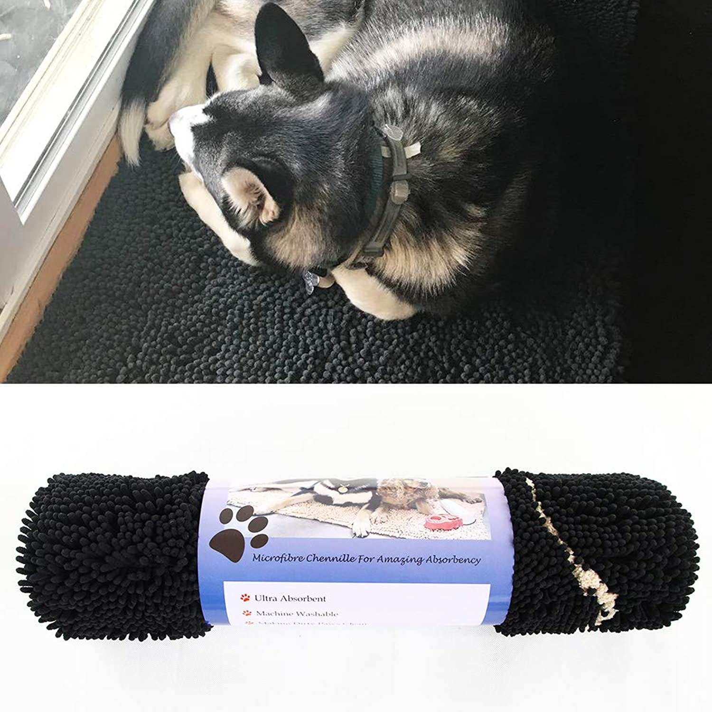 Chenille Dog Door mat (60 x30 ) Runner for Front Inside Floor Dirty Trapper Doormats, Quick Drying, Washable, Prevent Mud Dirt - Black