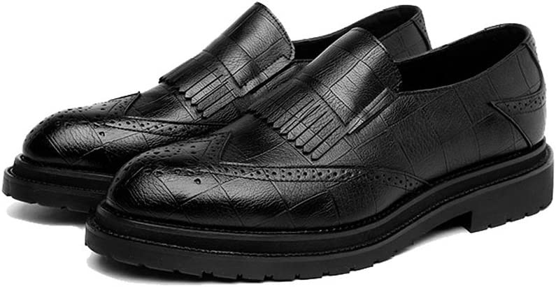 Mens PU Leather Shoes Classic Slip-on Tassel Decoration Breathable Formal Business Shoes Color : Black, Size : CN24