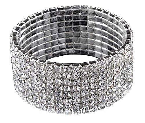 Unbekannt Strass Armreif Armband Schmuck Armschmuck Dehnbar 8 Reihig Silber