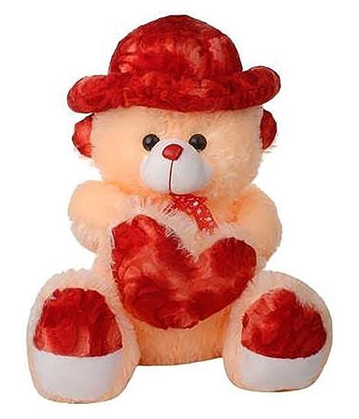 Mahira Trading Beautiful Soft and Cute Teddy Bear Cream Cap & Heart of 2