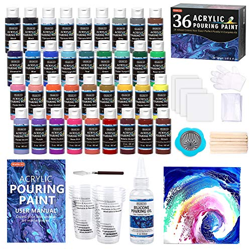 Acrylic Pouring Paint, Shuttle Art Set of 36 Bottles (2 oz/60ml) Pre-Mixed High-Flow Acrylic Paint Pouring Supplies with Canvas, Silicone Oil, Measuring Cups, Tablecloths, Complete Paint Pouring Kit