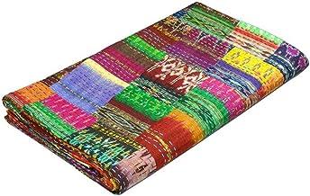 COR's King Size Patola Silk Patch Work Kantha Quilt Kantha Blanket Bedspread Patch Kantha Throw King Kantha Kantha Rallies...