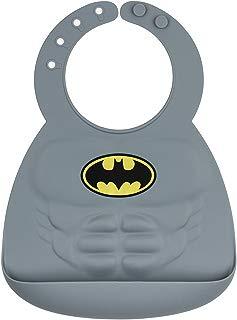 Bumkins - Babero de silicona para bebés de 6 a 24 meses, Batman, gris, 6-24 meses