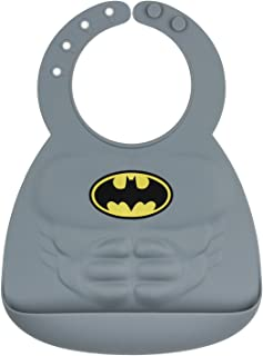 Bumkins DC Comics Batman Silicone Bib, Baby Bib, Toddler Bib, Comfortable, Waterproof, Wipe Clean, Stain and Odor Resistant, 6-24 Months
