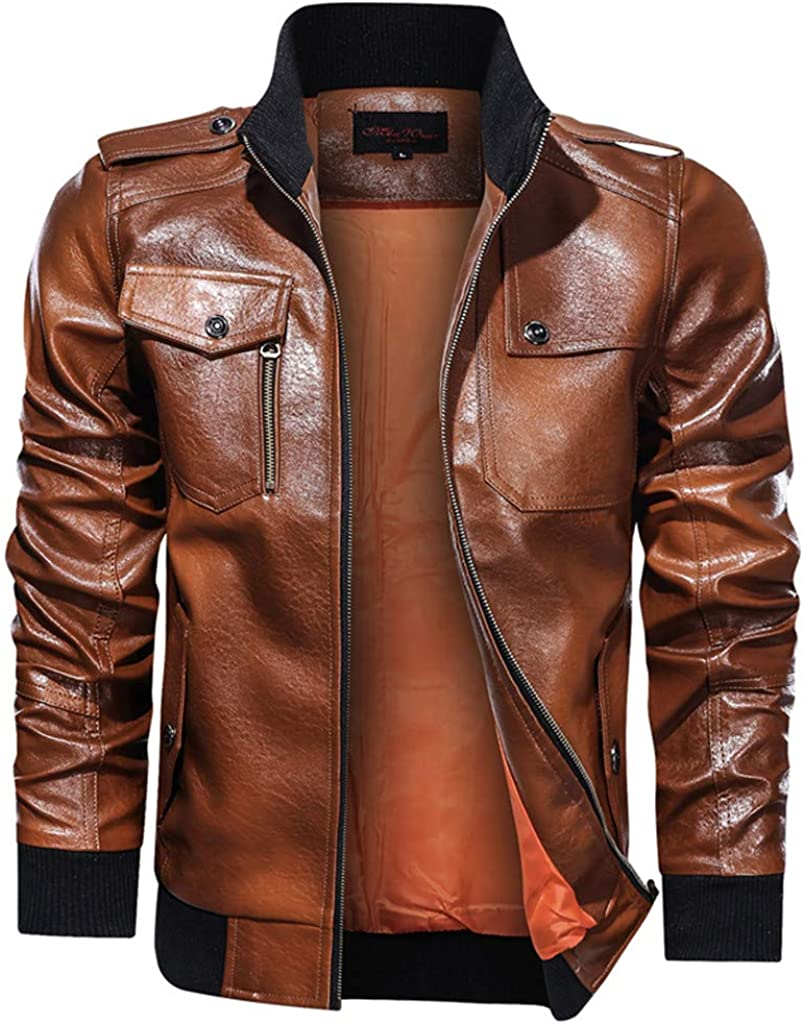 Men's Stand Collar Leather Jacket Motorcycle Lightweight Faux Leather Outwear Flight Bomber Jacket Coat