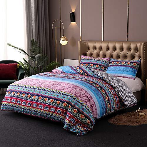 Damier Ropa de cama de 135 x 200 cm, diseño bohemio, exótico, funda nórdica de 2 piezas de microfibra suave, multicolor, diseño geométrico y 1 funda de almohada de 80 x 80 cm