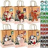 Evance Sacs de Cadeau de Noël, 24 Sachets Kraft Papier + 33 Autocollants + 24 Etiquettes Carte de Noël – Sac Cadeau Noël pour Bonbons Cadeaux de Noël, Mariage, Fête (23 x 9 x 18cm)