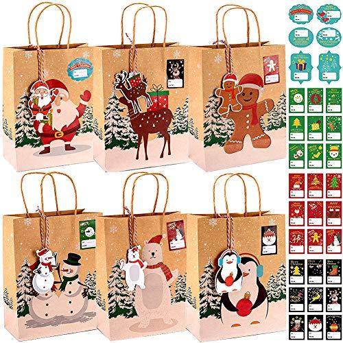 Evance 24 pcs Cajas Kraft Bolsas de Papel de Caramelo con 24 Etiquetas Navideñas y 33 Pegatinas para Decoración de Navidad Suministros (23 x 9 x 18cm)