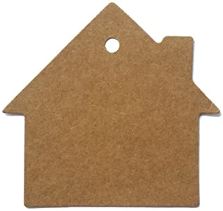 "LWR CRAFTS 100 Hang Tags House with Jute Twines 100ft (2 3/8"" x 2 1/8"", Kraft)"