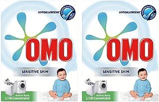 OMO Active Auto Laundry Detergent Powder Sensitive Skin, 2.5 Kg (Pack of 2)