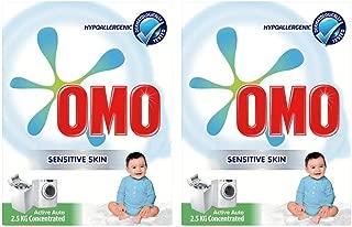OMO Active Auto Laundry Detergent Powder Sensitive Skin, 2.5 Kg (Twin Pack)