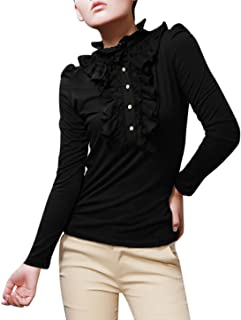 Women's Ruffle Neckline Half Placket Puff Sleeves Blouse