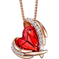 """CDE """"Pink Angel 18K Rose Gold Plated Pendant Necklaces Women Swarovski Necklace Heart Jewelry..."""