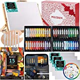 MEEDEN 48Pcs Acrylic Painting Set with Solid Beech Wood Table Easel, Paint Tubes