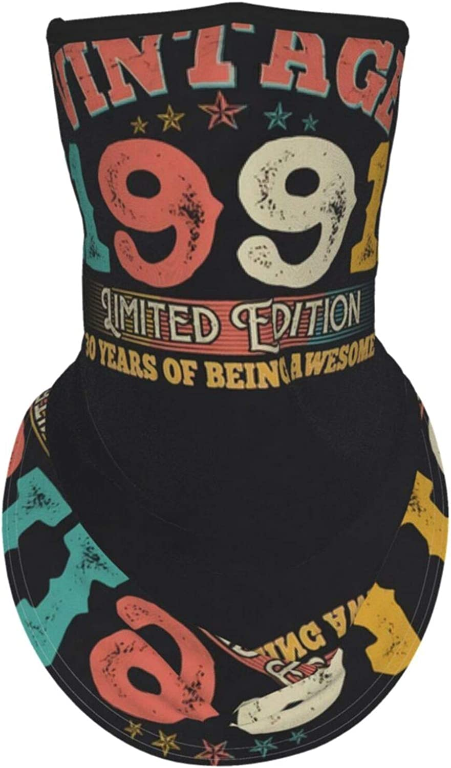 Ear Hangers Face Balaclava 30th Birthday Vintage Limited Edition 1991 Black Protective Cover Wristband Bandanas Neck Gaiter Dust-Proof,Anti-Pungent Gas,Washable