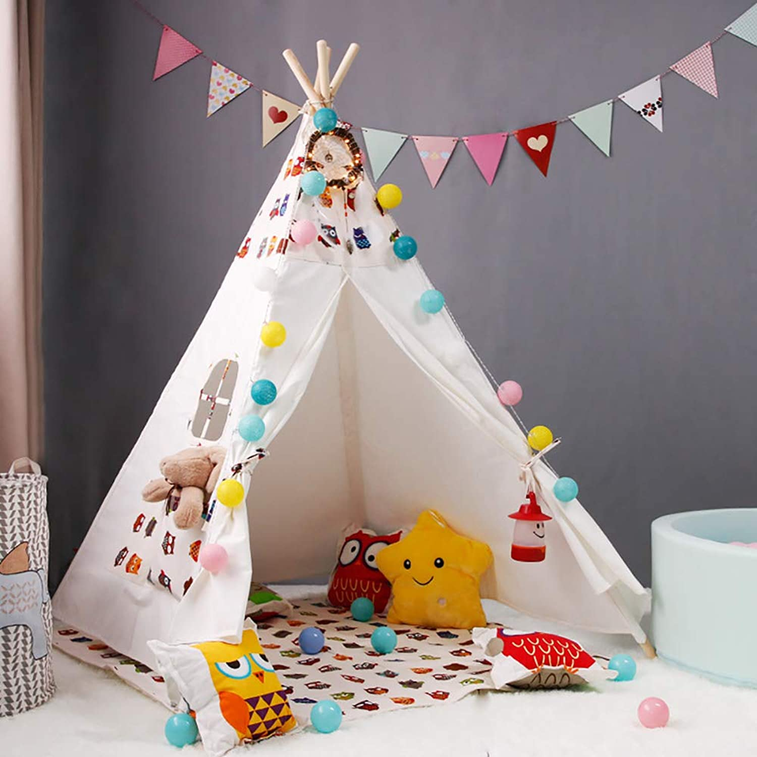 Kinder Indoor Teepee Zelt mit Thick Canvas Fabric, Coverot Pole Sleeves, und Canvas Easy to Install Zelt kommt mit Windows