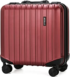 SRY-Luggage ABS+PC Durable Aluminum Frame Fashion Travel Boarding Case, European and American Style Password Suitcase, 18 Inches Carry on Luggage (Color : Red)