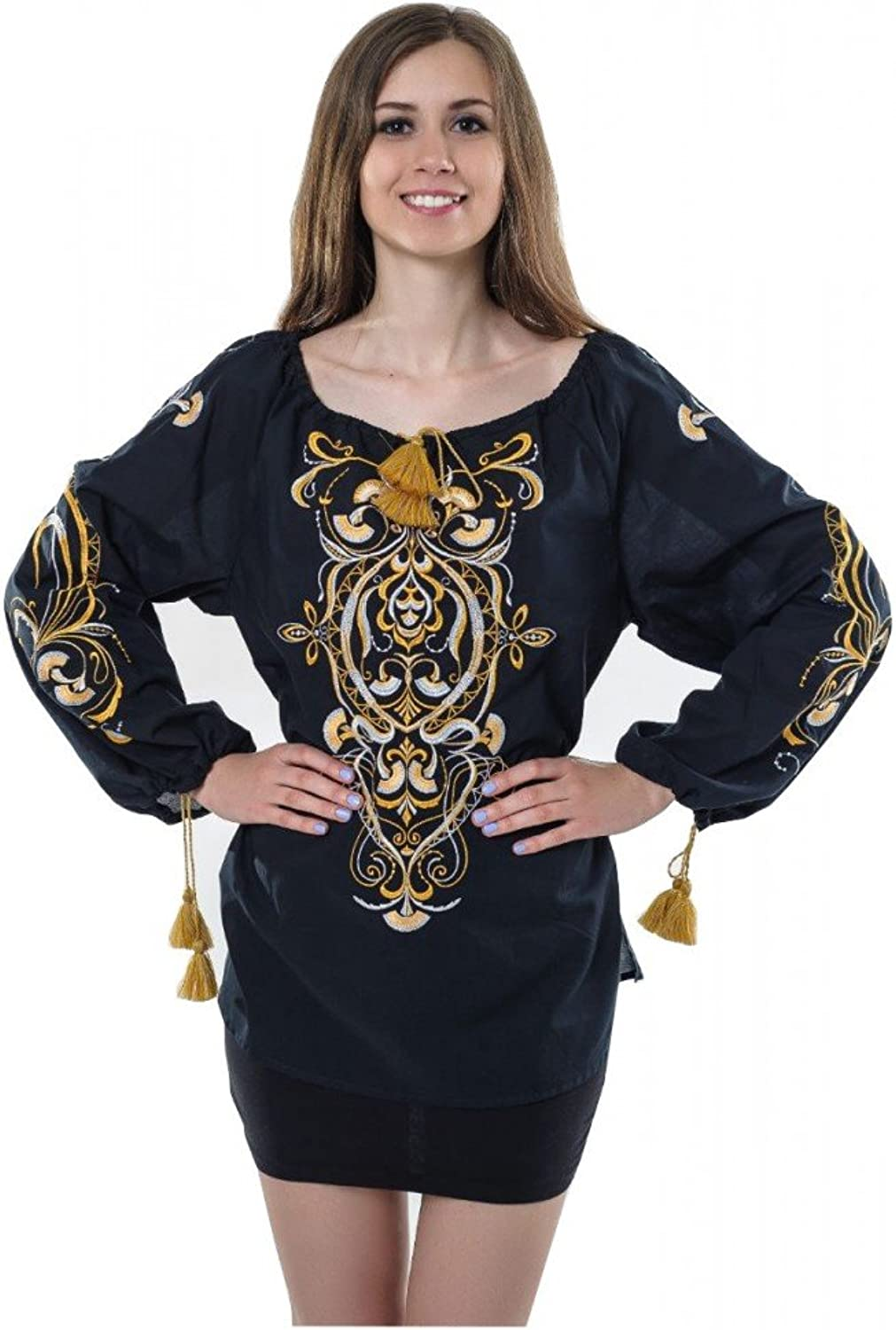 Boho Style Ukrainian Embroidered Folk Blouse Magic Herbs golden on Black