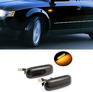 Auto Seitenmarkierung Blinker Licht,BIJANSEN LED Blinker Seitenblinker,Seitenblinkerleuchte Blinkerleuchte Blinker leuchte,Leuchtstreifen Seitenblinker,18SMD Bernstein 2PCS für Audi