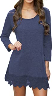 Women's Long & Short Sleeve A-line Lace Stitching Trim Casual Dress
