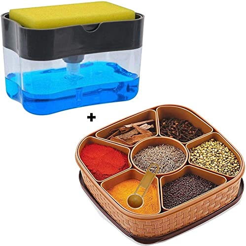 Today life style Combo Offer Pack of 2 1 pcs Unbreakable wasable airtight Masala Box Multipurpose use and 1 pcs soap Dispenser with Sponge Holder Free for Kitchen Sink