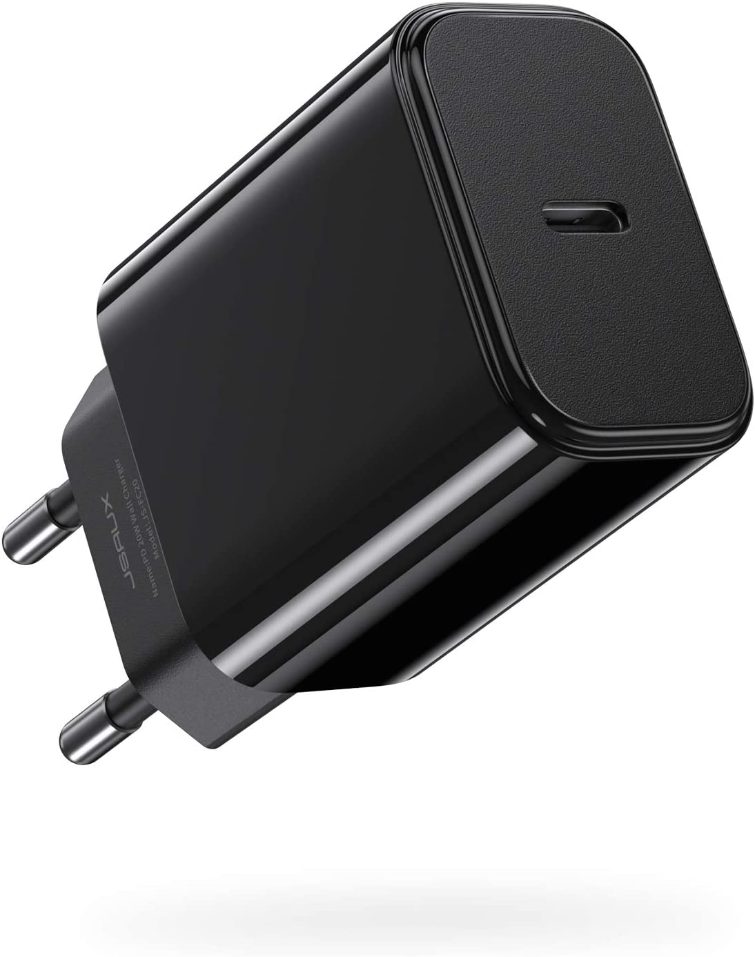 JSAUX Cargador USB C 20W, Carga Rápida Power Delivery 3.0 Tipo C Cargador Adaptador Compatible con iPhone 12 Mini/12/12 Pro/12 Pro MAX,iPhone 11 Pro/Pro MAX/SE,Samsung,Google Pixel-Negro