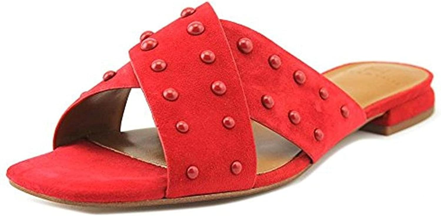 H Halston Womens Nora Dress Square Toe Slide Sandals Red 6.5 Medium (B,M)