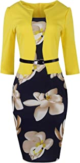 YAENEVE Women's Chic One-Piece 3/4 Sleeves Slim Bodycon Business Office Church Pencil Dresses with Belt