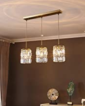 Pendant Lights Led Crystal Chandelier Gold 3 Head Home (Size : 15 * 25.5cm Chassis 60cm)