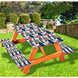 LEWIS FRANKLIN - Cortina de ducha para acuario de lujo, cubierta de mesa de picnic, forma de corazón con borde elástico, 28 x 72 pulgadas, juego de 3 piezas para mesa plegable