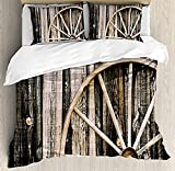 HSBZLH Funda De Edredón Motos Juego Funda Nórdica Rueda Carro Madera Granero 3 Piezas Puerta Granero Madera Y Ropa Cama Granja Rústica con Rueda Oxidada Vintage con 2 Fundas Almohada