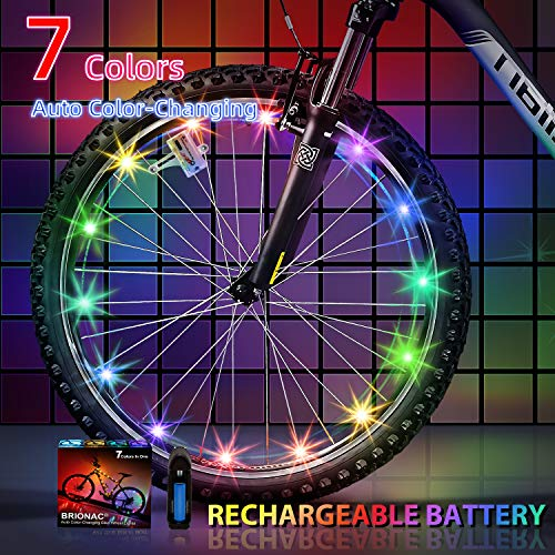 Brionac Newest 2019 Bike Wheel Lights with Batteries Included, Auto Color Change, Keep Safe and More Attractive (1 Pack)