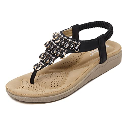 c4f5962151ad DolphinBanana Bohemian Summer Flat Sandals 3D Support Bling Bling  Herringbone T-Strap Beach Thongs Prime