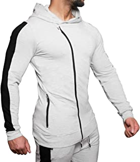 MECH-ENG Men's Gym Workout Long Sleeve Hoodie Active Muscle Bodybuilding Fitness Zip Jackets