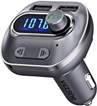 VICTSING Transmisor FM Bluetooth 4.1 para Coche,Mini Manos Libres Emisor,AUX Salida,Radio Adaptador y Reproductor de MP3,USB Cargador de Coche sin Instalacion,Tarjeta TF,para Móviles,Tablet,etc-Gris