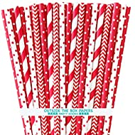 Paper Drinking Straws - Red and White - 4th of July Party Supply - Stripe Chevron Polka Dot - 7.75 Inches - 100 Pack Outside the Box Papers Brand
