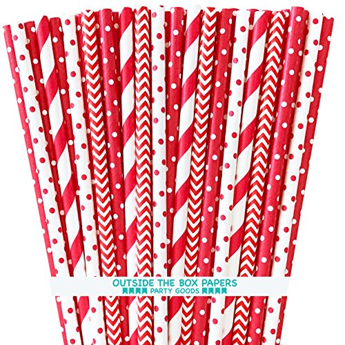 Paper Drinking Straws - Red and White