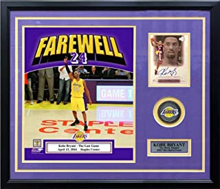 Kobe Bryant Final Game Photo with Autographed Card Los Angeles Lakers Framed and Matted Basketball Collage