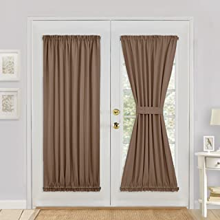PONY DANCE Window Blackout Curtain - Premium Window Drape/Door Panel for French Door Easy Installation Light Block Privacy Protect with Tieback, 54 W by 72 L, Coffee Brown, 1PC