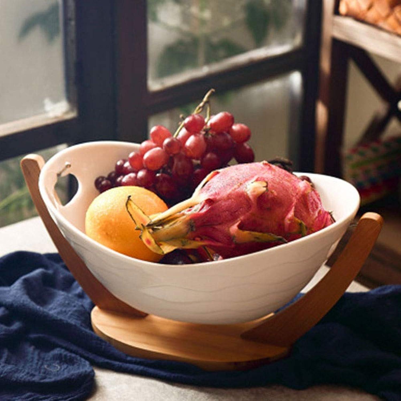 Nuanxin Panier De Fruits Ménagers En Lingocravater Avec Plateau En Bambou Et Bol En Céramique Simple Mais Pas Monotone De Santé O10 (Taille   M)