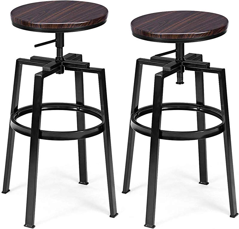 COSTWAY Counter Height Bar Stools Set Of 2 Swivel Adjustable Round Top Pub Bistro Kitchen Dining Side Chair Mental Barstools With Footrest